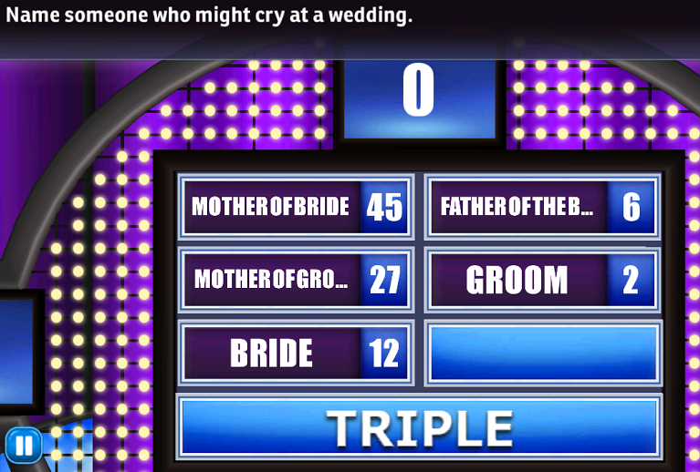 name someone who might cry at a wedding family feud