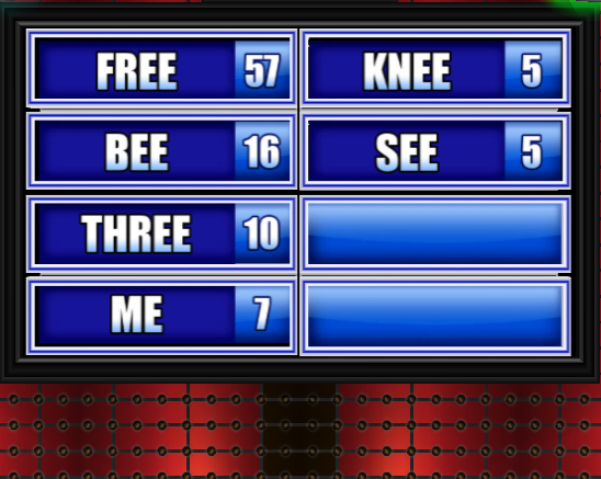 name a word that rhymes with tree family feud guide family