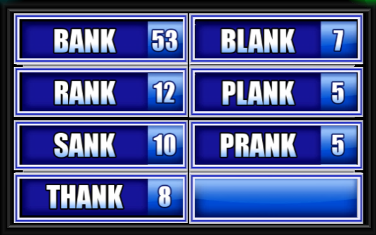 name a word that rhymes with tank family feud guide family