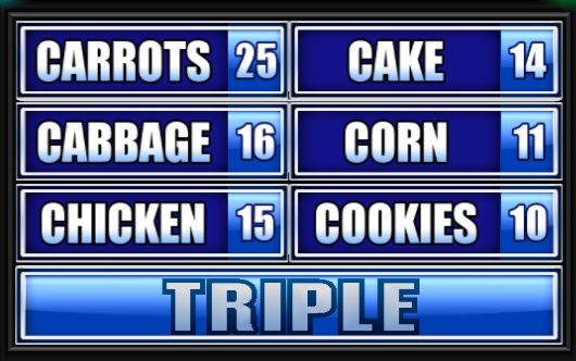 "name a food that starts with the letter ""c"". - family feud guide"