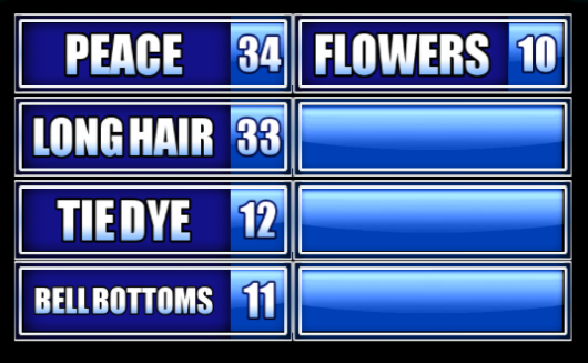name something associated with hippies family feud guide family